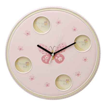 Baby Girl Photo Frame Wall Clock - Pink Butterfly Design